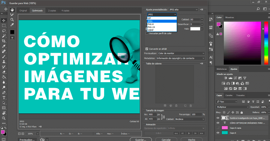 optimizar imágenes para web Photoshop